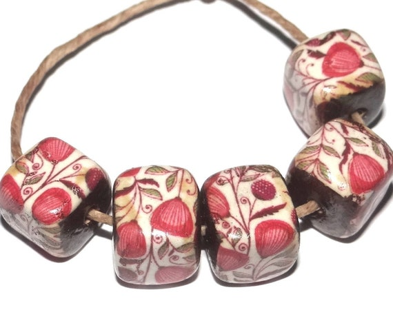 Porcelain Pink Ceramic Cube Beads Floral Rustic Flowers