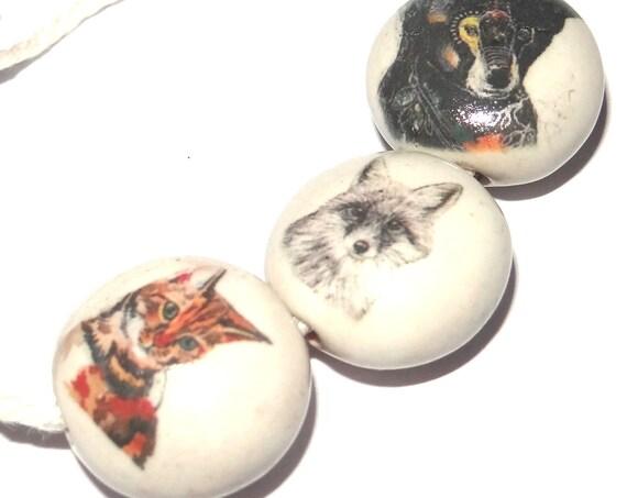 Ceramic Bead Set Bead Porcelain Handmade Bear Fox Cat