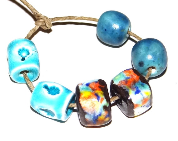 Ceramic Textured Bead Pairs Set Porcelain Handmade Pottery Beads Rustic Blue Turquoise Aqua