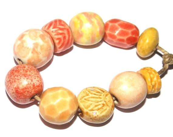 Ceramic Textured Bead Set Porcelain Handmade Pottery Beads Rustic Orange Coral