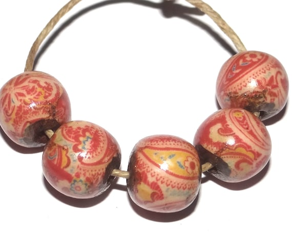 Porcelain Pink Red Paisley Ceramic Beads Floral Rustic Rounds 10mm