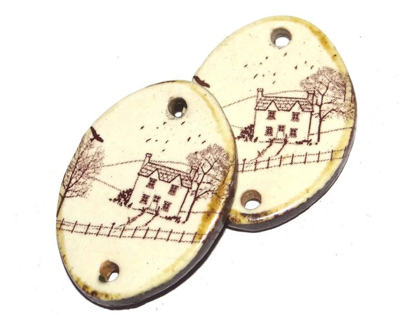 Ceramic Landscape Cottage Countryside Charms Pair Porcelain Handmade