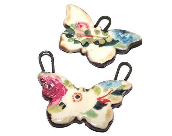 """Ceramic Floral Butterfly Charms Beads Porcelain 25mm 1"""" CC1-1"""