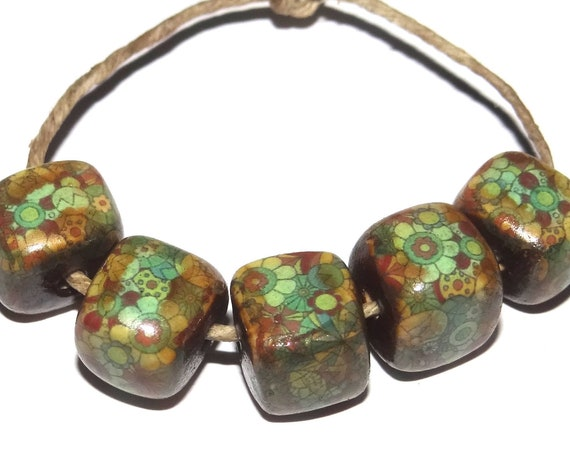 Porcelain Green Flower Ceramic Cube Beads Floral Rustic Flowers