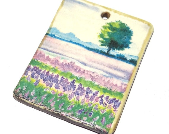 Ceramic Fields & Flowers Tree Pendant Handmade Porcelain Focal