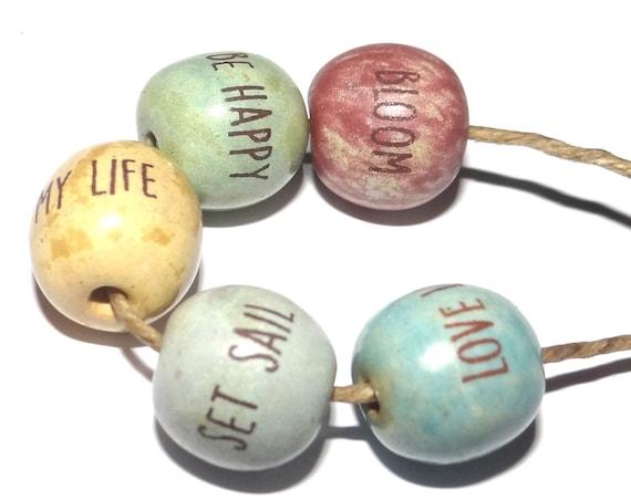 Ceramic Quote Bead Set Beads Handmade Adult