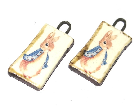 Ceramic Peter Rabbit Beatrix Potter Charms Beads Pair Porcelain