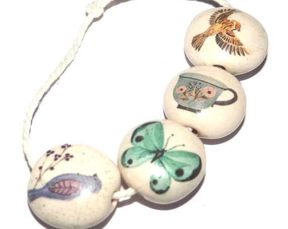 Ceramic Animal Bead Set Stoneware Handmade Pottery Beads