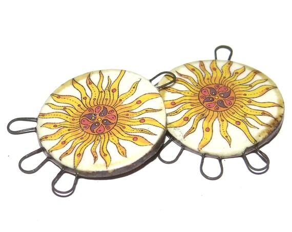 Ceramic Sun Earring Charms Pair Handmade Porcelain