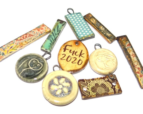 Ceramic Orphan Charms Component Porcelain Handmade Pottery