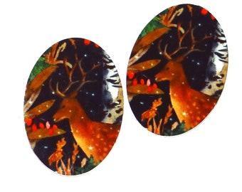 """Metal Winter Deer Stag Charms Handmade 25mm 1"""""""