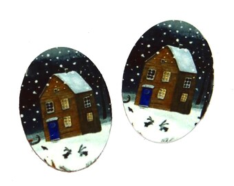 "Metal Winter Cabin Snow Charms Handmade 25mm 1"""