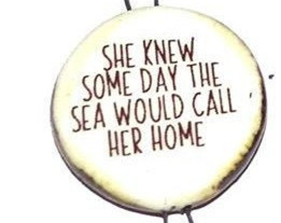 Ceramic Quote Connector Handmade Pendant Porcelain Ocean Beach Sea Mermaid Inspirational Motivational