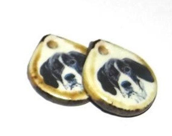 Ceramic Dog Earring Charms Pair Handmade Porcelain Pointer