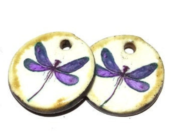 Ceramic Earring Charms Pair Handmade Rustic Dragonfly