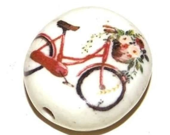 Large Ceramic Bicycle Bike Focal Bead 30mm Porcelain