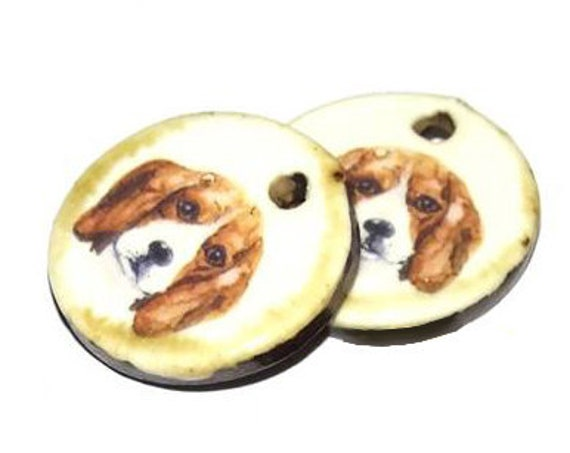 Ceramic Earring Charms Pair Handmade Rustic Dogs