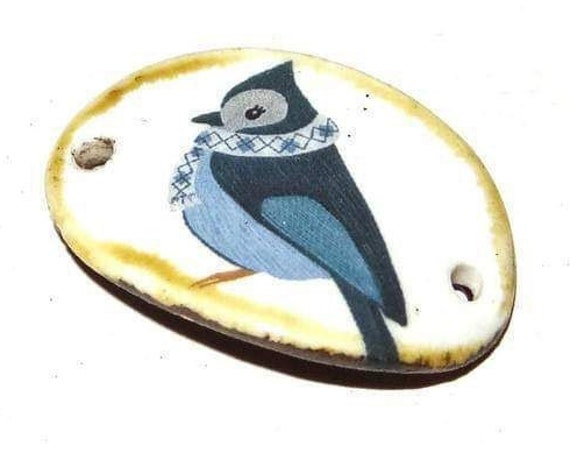 Ceramic Winter Bird Bracelet Bar Handmade Cuff Porcelain