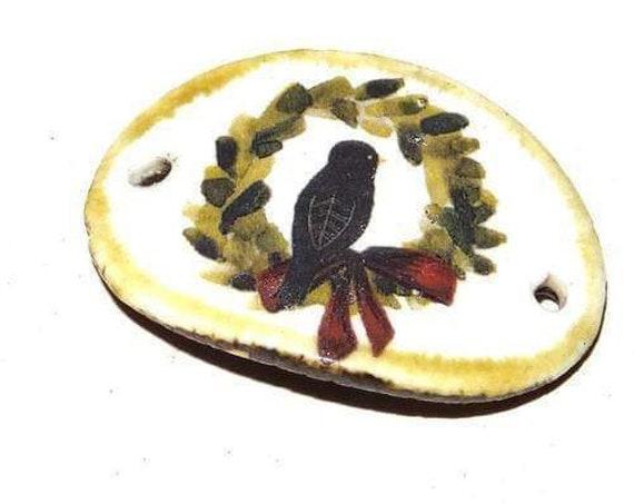 Ceramic Bird Bracelet Bar Handmade Cuff Porcelain Wreath Blackbird Rustic