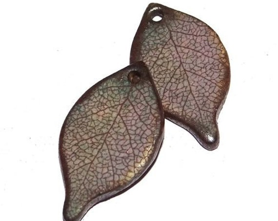 Ceramic Leaf Leaves Earring Charms Pair Beads Handmade Rustic Grey Lilac