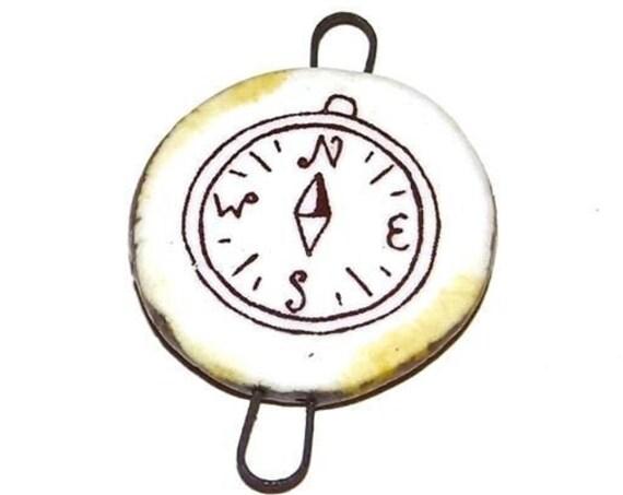 Ceramic Compass Pendant Charm Handmade Focal Travel Adventure Wanderlust