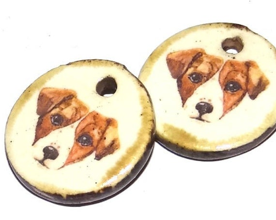 Ceramic Dog Jack Russell Charms Pair Porcelain Handmade