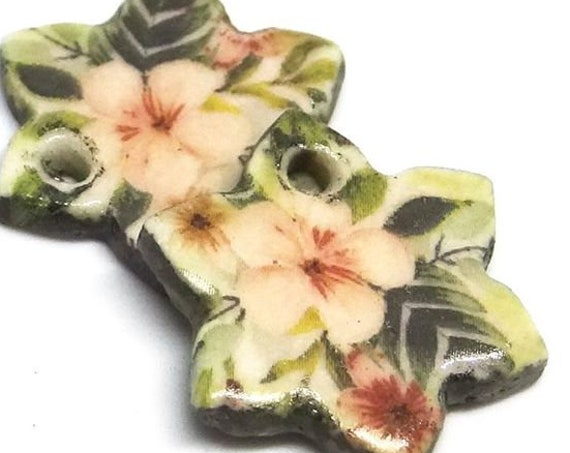 Ceramic Flower Earring Charms Pair Beads Handmade Rustic