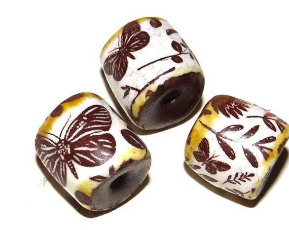 Ceramic Butterfly Bead Set Stoneware Handmade Pottery Beads Rustic Earthy