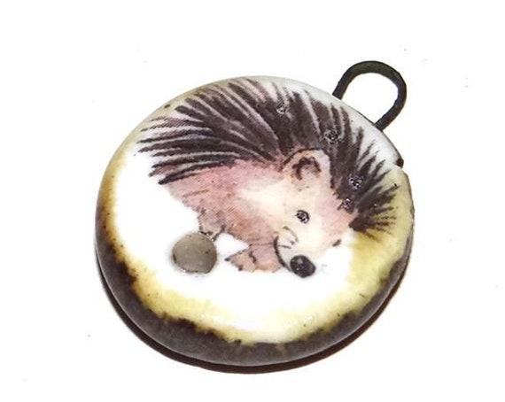 Ceramic Hedgehog Clasp Connector Charm Bead Porcelain Handmade Unique Rustic