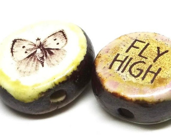 1 Ceramic Double Sided Quote Bead Porcelain Handmade Butterfly Fly High