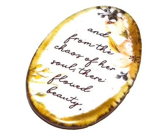 Ceramic Quote Pendant Word Handmade Focal Inspirational Motivational Feminine Female Quotes