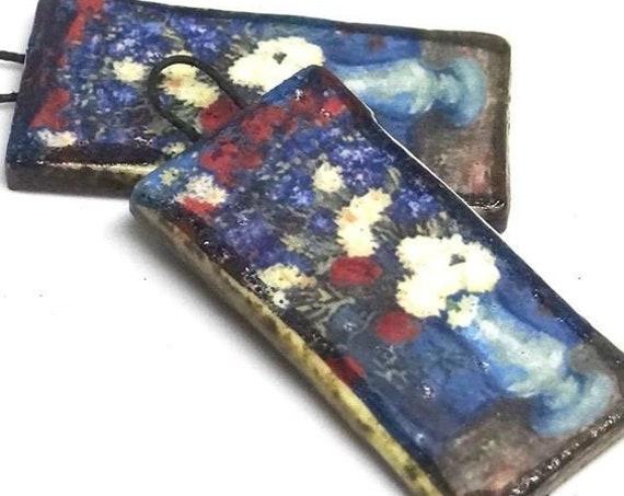 Ceramic Van Gogh Flower Vase Cornflowers Poppies Earring Charms Pair Beads Handmade Rustic