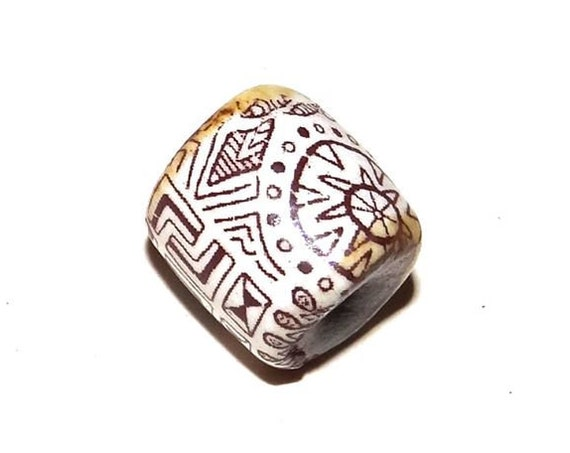 1 Ceramic Patterned Bead Porcelain Handmade Zentangle Aztec