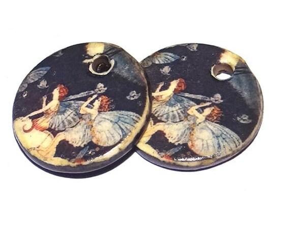 Ceramic Fairies Charms Pair Porcelain Handmade