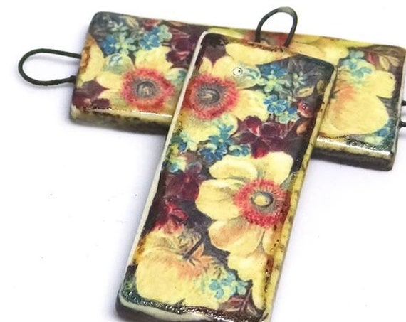 Ceramic Floral Earring Charms Pair Beads Handmade Rustic