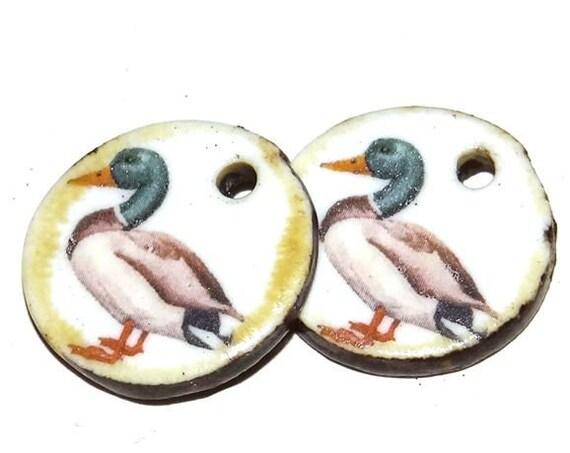 Ceramic Duck Mallard Earring Charms Pair Beads Handmade Rustic