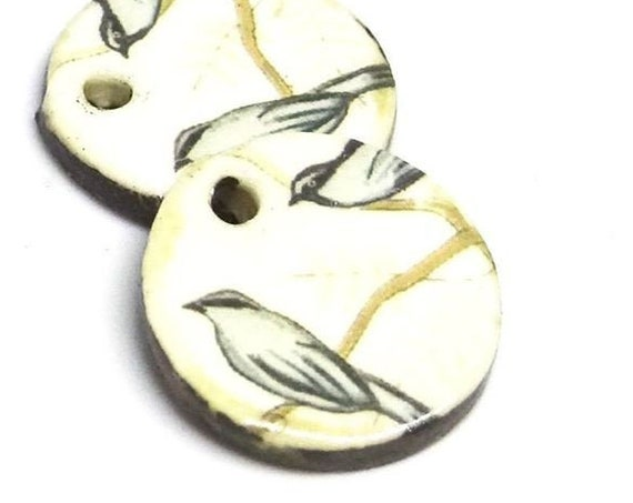 Ceramic Bird Earring Charms Pair Beads Handmade Rustic