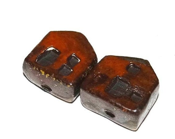 Ceramic House Beads Pair Red Brown Handmade