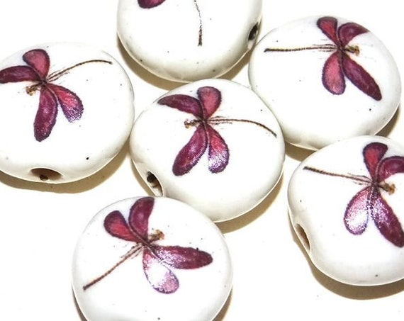 1 Ceramic Dragonfly Bead Porcelain Handmade Wildlife Nature Purple