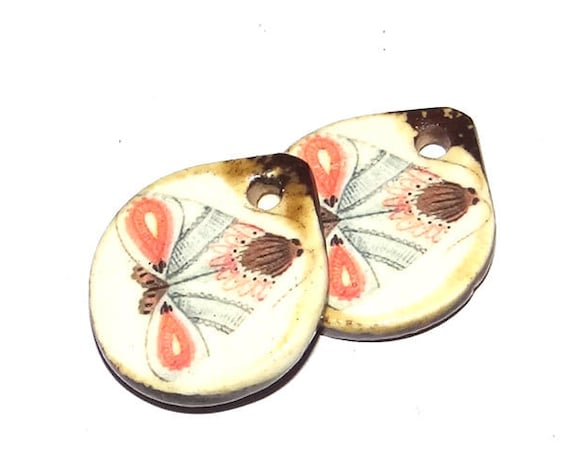 Ceramic Moth Charms Pair Porcelain Handmade