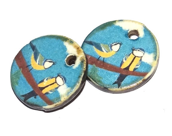 Ceramic Bird Blue Tit Charms Pair Porcelain Handmade