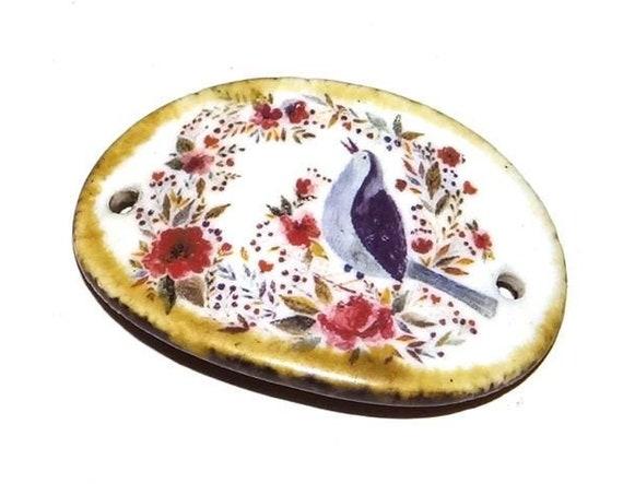 Ceramic Bird Floral Bracelet Bar Handmade Cuff Porcelain Rustic Animals Nature