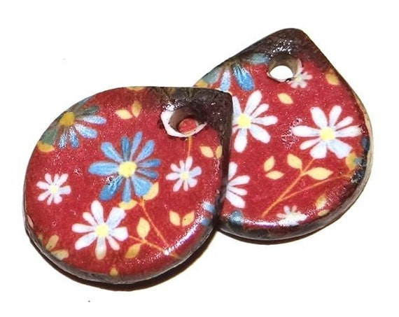 Ceramic Floral Flower Earring Charms Pair Beads Handmade Rustic Red
