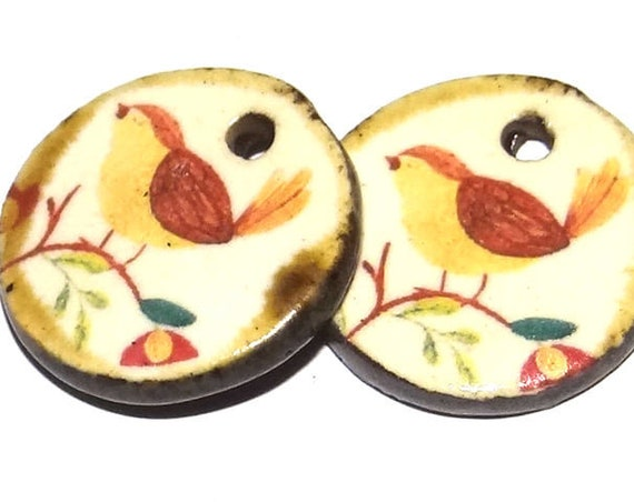 Ceramic Bird Charms Pair Porcelain Handmade