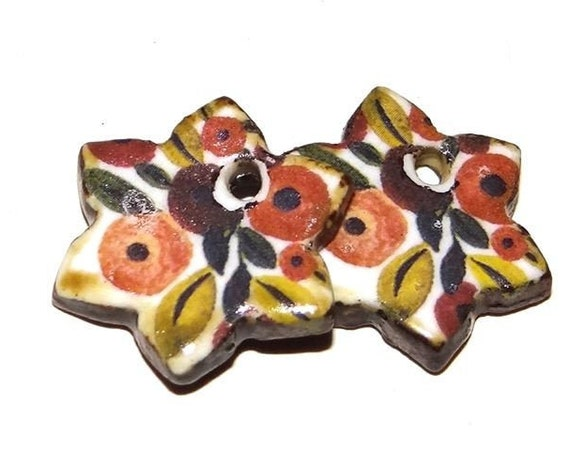 Ceramic Floral Earring Charms Pair Handmade Rustic Autumnal Orange