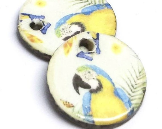 Ceramic Bird Parrot Earring Charms Pair Beads Handmade Rustic