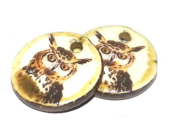 Ceramic Owl Earring Charms Pair Handmade Porcelain