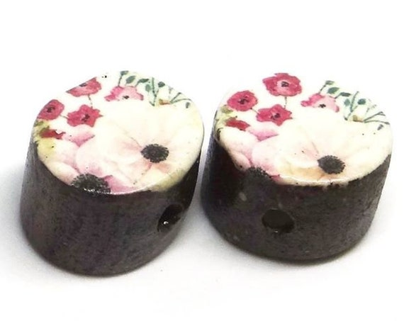 Ceramic Flower Pink Bead Set Pair Inspirational Nature