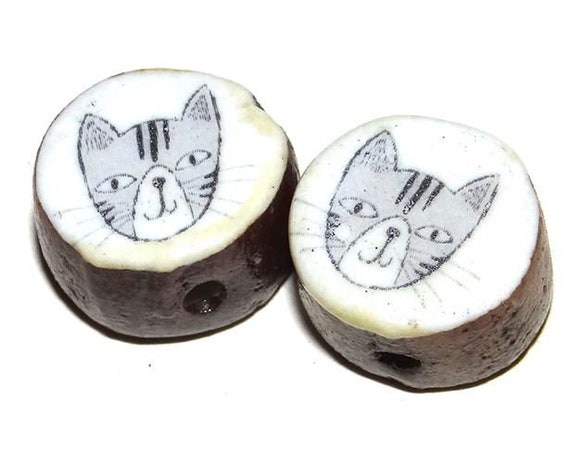 Ceramic Cat Bead Set Pair Inspirational Nature