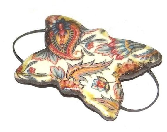 Ceramic Bracelet Bar Handmade Cuff Porcelain Floral Butterfly